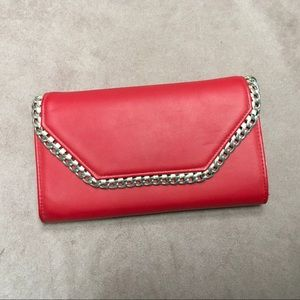 Red Clutch With Silver Hardwear